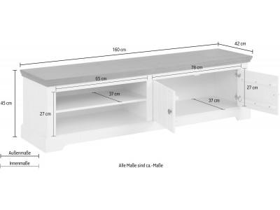 Rack TV branco e marrom em madeira maciça | Athenas