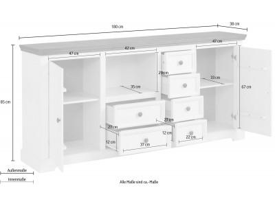 Balcão buffet branco e marrom de madeira maciça com 6 gavetas 2 portas  / Athenas