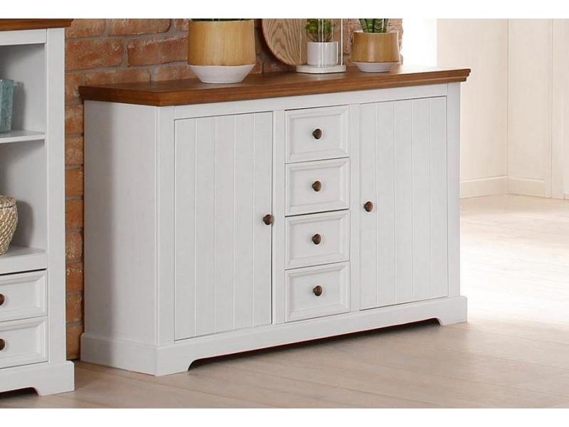 Balcão aparador buffet branco e amêndoa em de madeira maciça com 4 gavetas e 2 portas / Athenas
