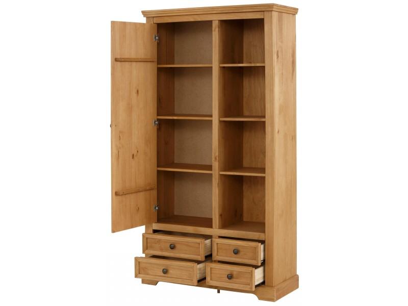 Armário estante rustico de madeira maciça acabamento em cera com 4 gavetas 1 porta e nichos com prateleiras / Athenas