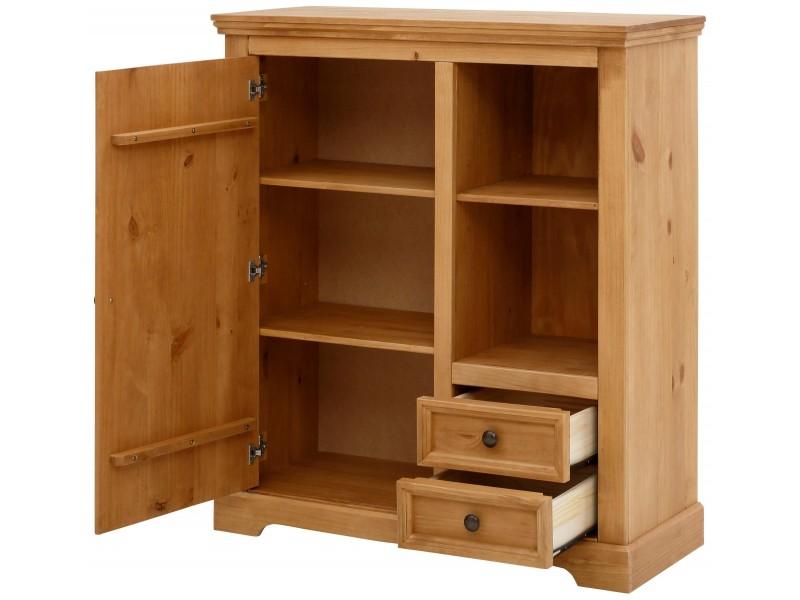 balcão estante madeira rústica acabamento em cera com 1 porta 2 gavetas nicho aberto com 1 prateleira / Athenas