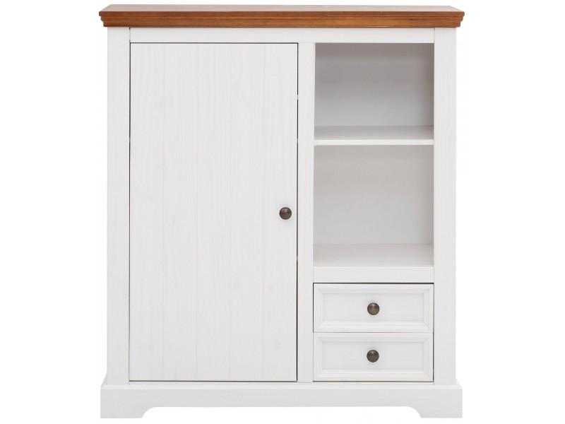 Estante madeira maciça branco e marrom com 1 porta 2 gavetas nicho aberto com 1 prateleira | Athenas