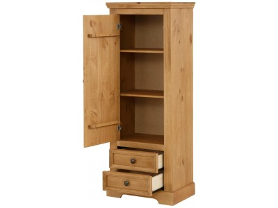 Estante rústica de madeira maciça com 2 gavetas 1 porta 2 prateleiras interna acabamento em cera /Athenas