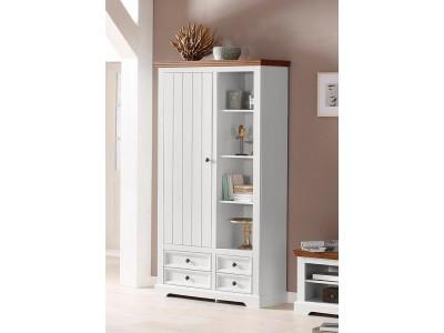 Armário estante de madeira maciça branco e marrom com 4 gavetas 1 porta e nichos com prateleiras / Athenas