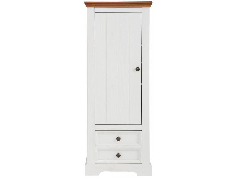 Estante de madeira maciça com 2 gavetas 1 porta 2 prateleiras interna acabamento branco e marrom | Athenas