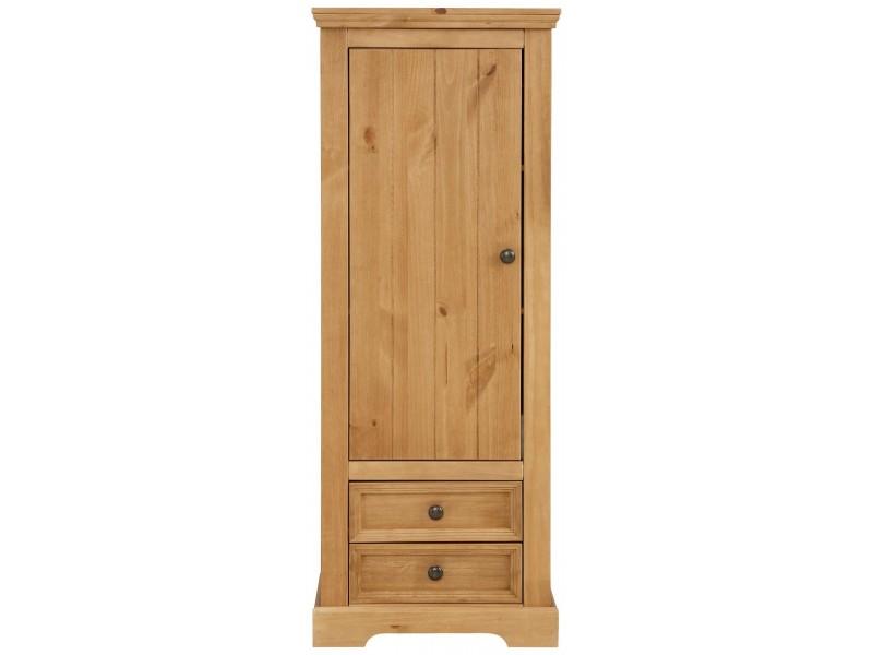 Estante rústica de madeira maciça com 2 gavetas 1 porta 2 prateleiras internas e acabamento em cera   Athenas