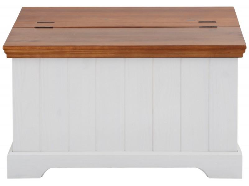 Baú mesa de centro branco e marrom de madeira maciça / Athenas