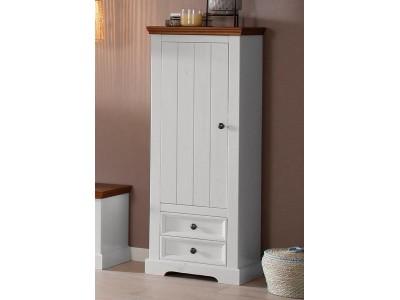 Estante de madeira maciça com 2 gavetas 1 porta 2 prateleiras interna acabamento branco e marrom /Athenas