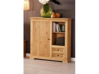 Balcão estante madeira rústica acabamento em cera com 1 porta 2 gavetas nicho aberto com 1 prateleira | Athenas