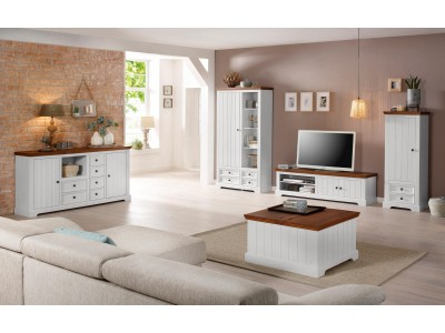 Rack TV branco e marrom em madeira maciça / Athenas