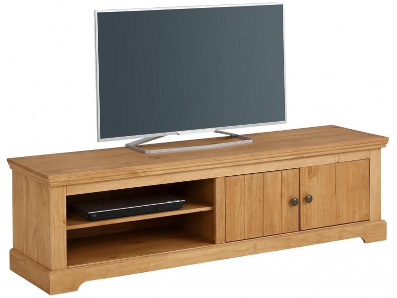 Rack TV rústico em madeira maciça com acabamento em cera / Athenas