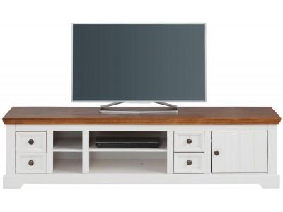Rack para TV branco e marrom de madeira maciça com 4 gavetas 1 porta e 2 nichos pequenos e 2 nichos grande | Athenas