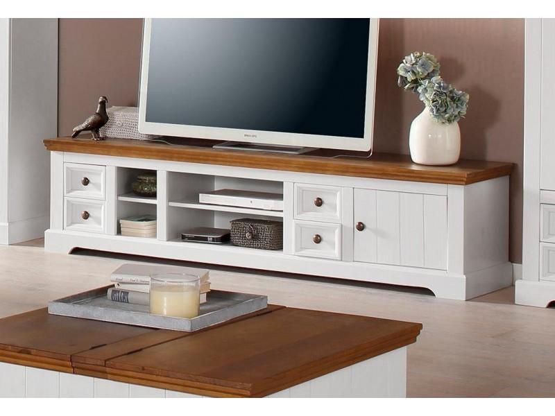 Rack TV branco e marrom de madeira maciça com 4 gavetas 1 porta e 2 nichos pequenos e 2 nichos grande / Athenas