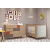 Jet / Cama de babá - Sofa cama de madeira escovada na cor carvalho