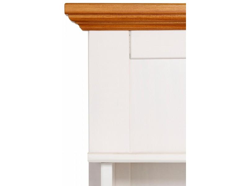Banco e cabideiro de madeira branco e mel / Melissa