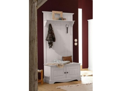 Banco e cabideiro de madeira branco lavado | Melissa
