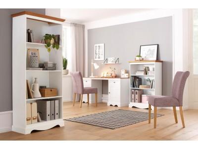 Escrivaninha de madeira com 2 portas e 2 gavetas branco lavado e mel | Melissa