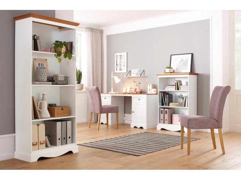 Escrivaninha de madeira com 2 portas e 2 gavetas branco lavado e mel / Melissa