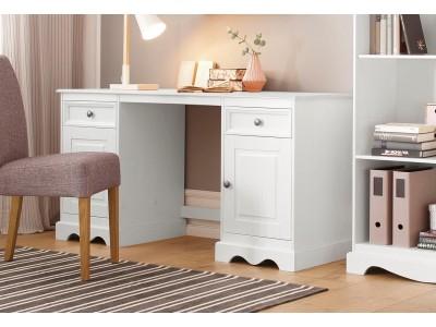 Escrivaninha de madeira com 2 portas e 2 gavetas branco lavado | Melissa