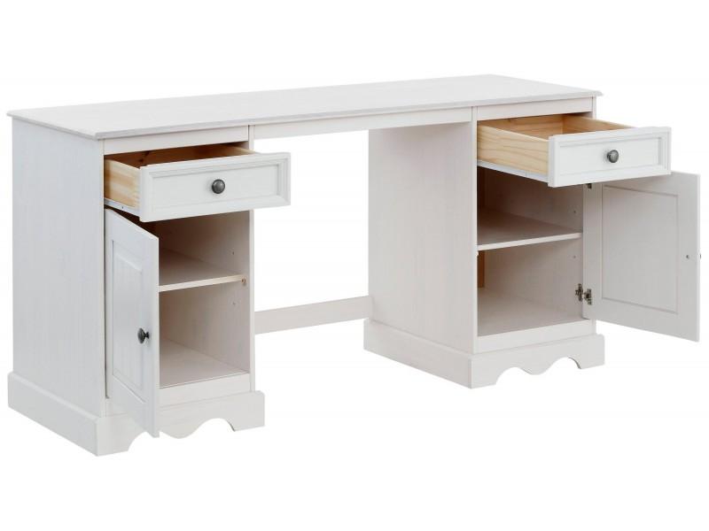 Escrivaninha de madeira com 2 portas e 2 gavetas / Melissa