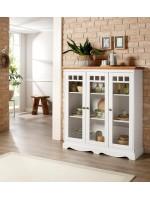 Cristaleira de madeira maciça branca e mel com 3 portas de vidro | Melissa