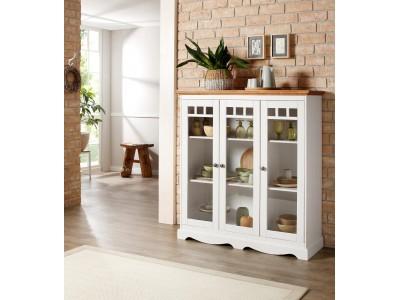 Cristaleira de madeira maciça branca e mel com 3 portas de vidro / Melissa