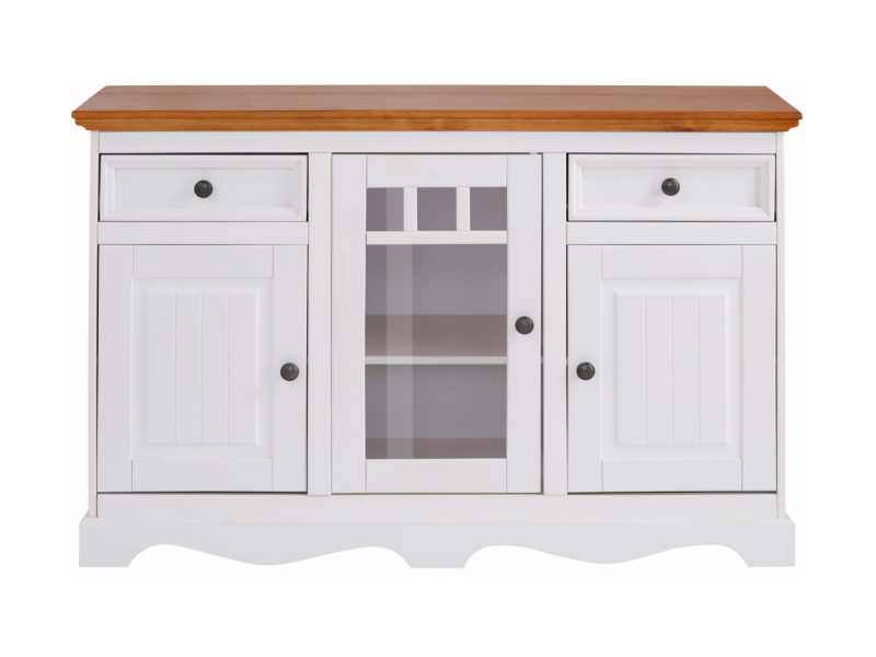 Balcão de madeira branco lavado e mel - Linha Melissa