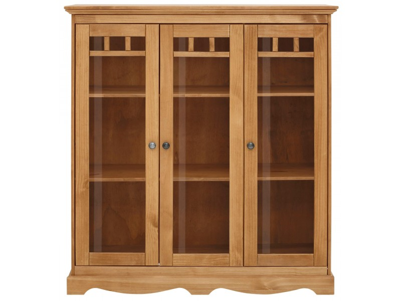 cristaleira vitrine rustica de madeira maciça com 3 portas de vidro / melissa