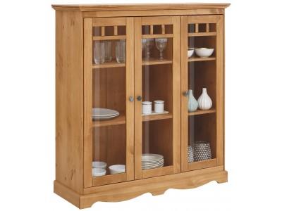 Cristaleira rústica de madeira/cera com 3 portas com vidro | Melissa