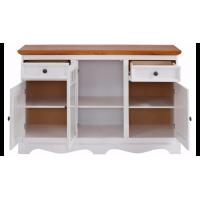 Balcão aparador buffet branco lavado de madeira maciça com 2 portas de vidro 2 portas de madeira e 2 gavetas branco lavado | Melissa