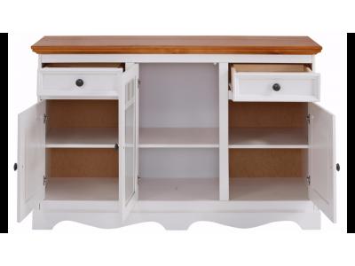 Balcão aparador buffet branco lavado de madeira maciça com 2 portas de vidro 2 portas de madeira e 2 gavetas branco lavado / Melissa