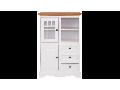 Balcão Vértico de madeira com 3 gavetas  1 porta de madeira e 1 porta de vidro | Melissa