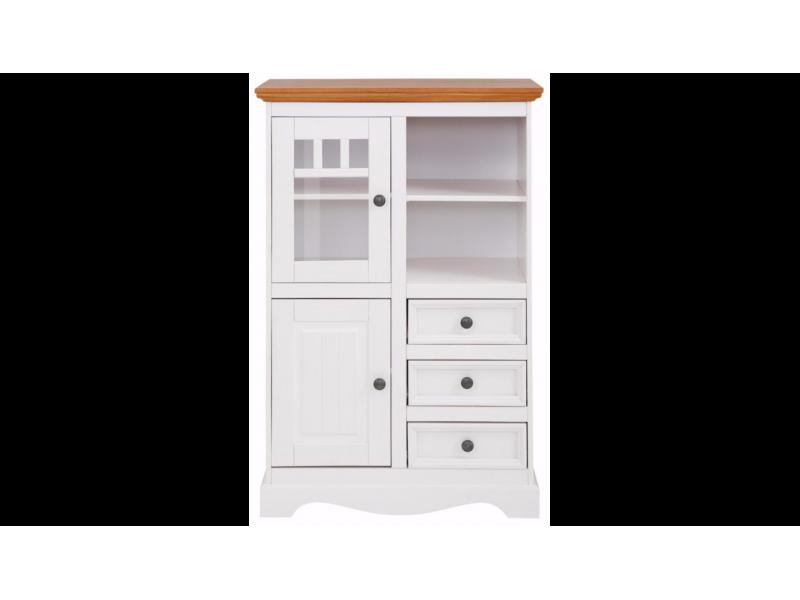 Balcão Vértico de madeira com 3 gavetas  1 porta de madeira e 1 porta de vidro / Melissa