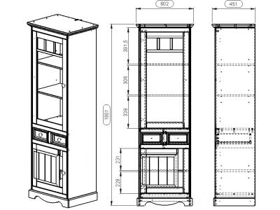 Vitrine torre de madeira branco lavado / Melissa