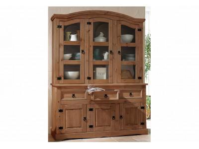 Balcão de madeira com oratória 3 gavetas 3 portas de madeira e 3 portas de vidro em cera chocolate | Linha México