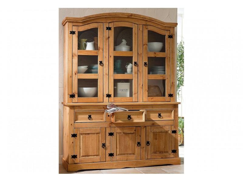 Balcão de madeira com oratória 3 gavetas 3 portas de madeira e 3 portas de vidro | México