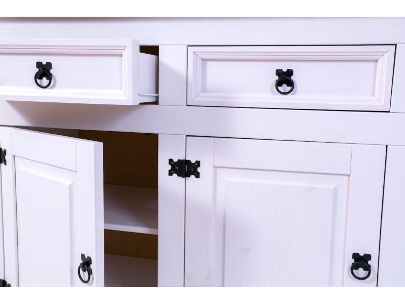 Buffet com cristaleira de madeira 3 gavetas, 3 portas de madeira e 3 portas de vidro na cor branco lavado | Linha México