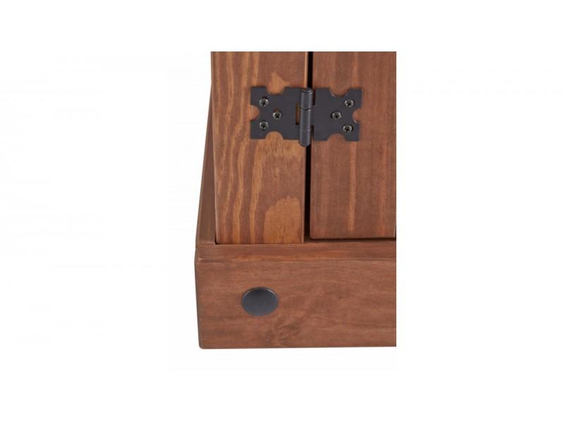 Vitrine cristaleira de madeira maciça em cera chocolate | México