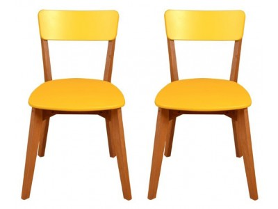 Scandian / 2 Cadeiras de Madeira com assento e encosto em MDF na cor amarelo