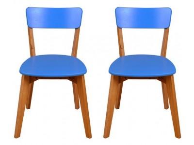 Scandian / 2 Cadeiras de Madeira cor azul com assento e encosto em MDF