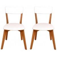 2 Cadeiras de Madeira com assento estofado courvin e encosto em MDF branco | Scandian