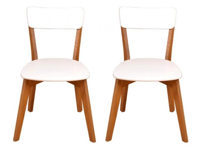 2 Cadeiras de Madeira com assento estofado com courvin e encosto em MDF na cor branco / Scandian