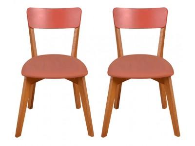 2 Cadeiras de Madeira com assento estofado e encosto em MDF na cor marsalla / Scandian