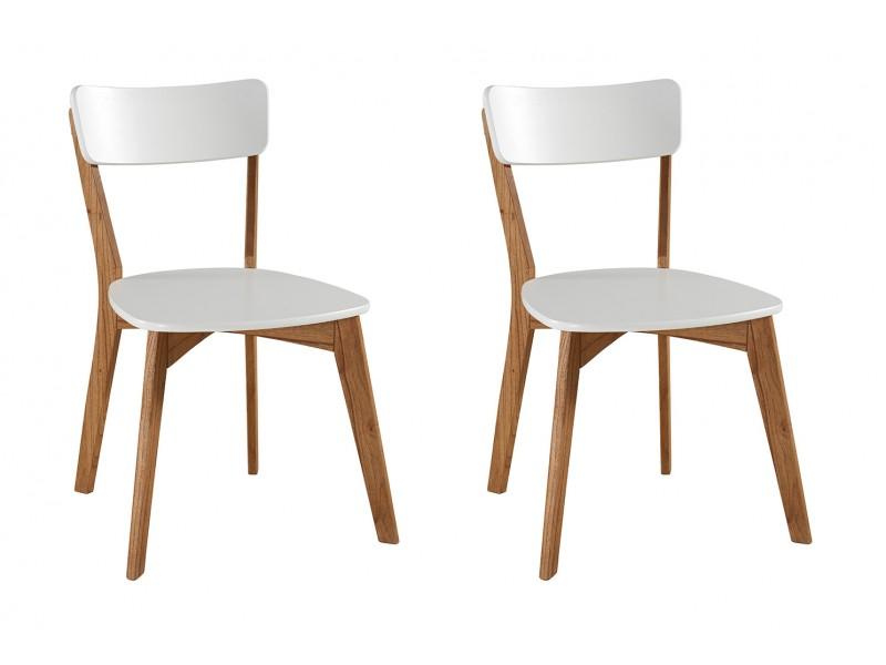 2 Cadeiras de madeira com assento e encosto em MDF branco - Scandian