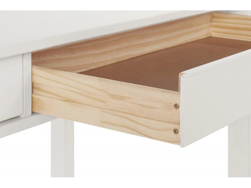 Escrivaninha  de madeira maciça 120cm acabamento branco lavado com 2 gavetas / gava