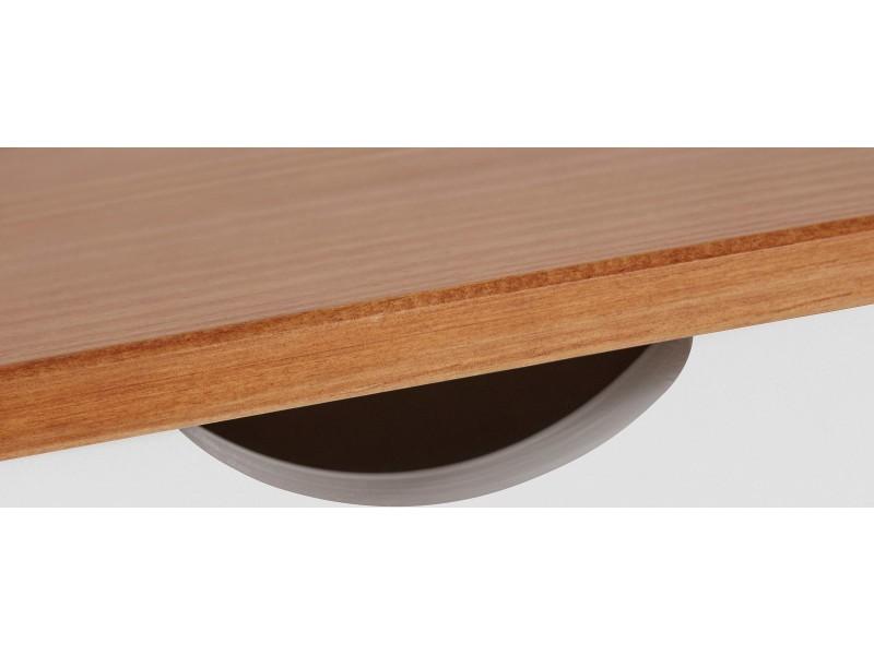 Escrivaninha de madeira branca e mel com 2 gavetas 140cm / gava