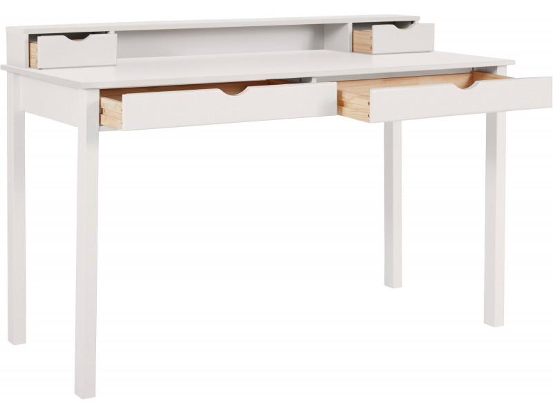 Escrivaninha de madeira 140cm branco lavado com 2 gavetas grande e 2 gavetas pequenas / gava