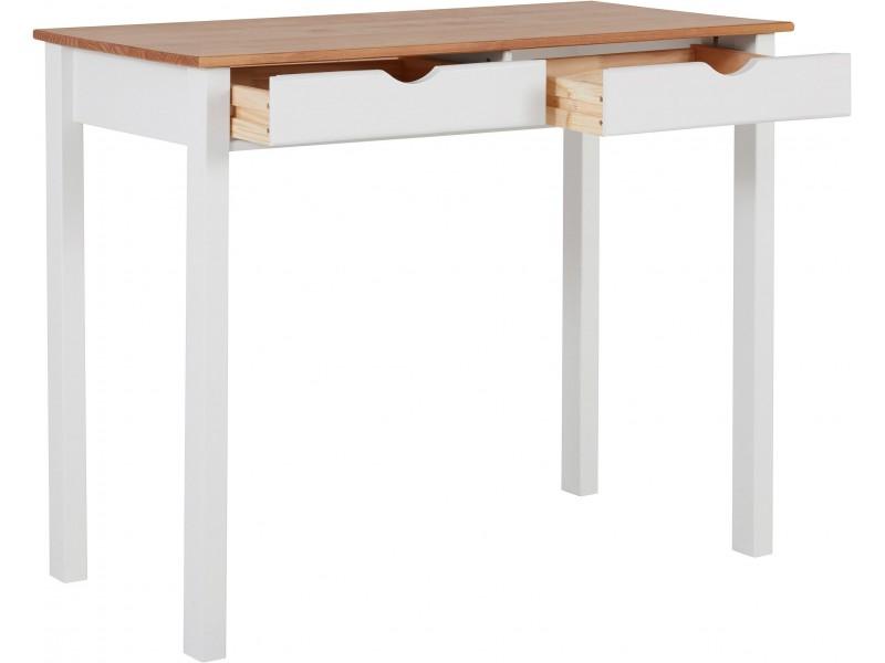 Escrivaninha penteadeira pequena de madeira acabamento branco lavado e marron mel yucatan 100cm / Gava