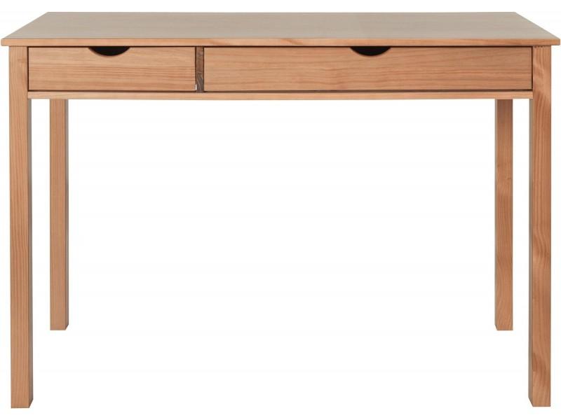 Escrivaninha de madeira maciça 120x60cm acabamento mel yucatan com 2 gavetas / gava