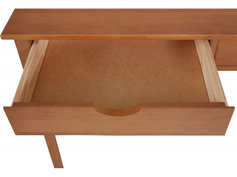 Escrivaninha penteadeira pequena de madeira acabamento marron em cera mel yucatan 100cm / Gava